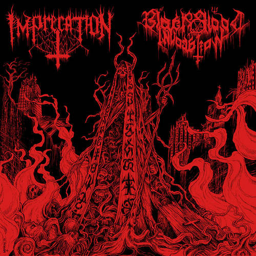 imprecation / black blood invocation – diabolical flames of the ascended plague [split]